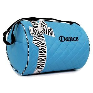 Kids Blue Dance Bag with Zebra Print Stripe